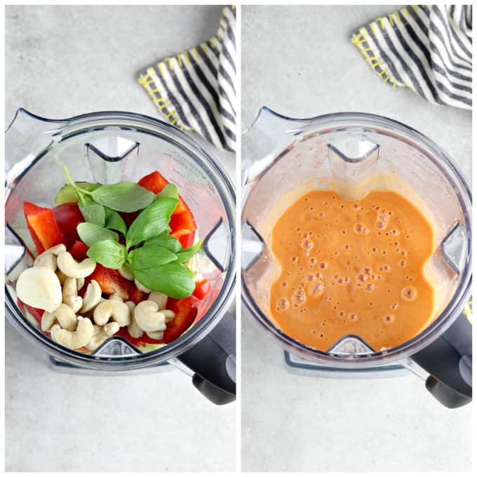 Two process photos of blending ingredients for easy gazpacho recipe.