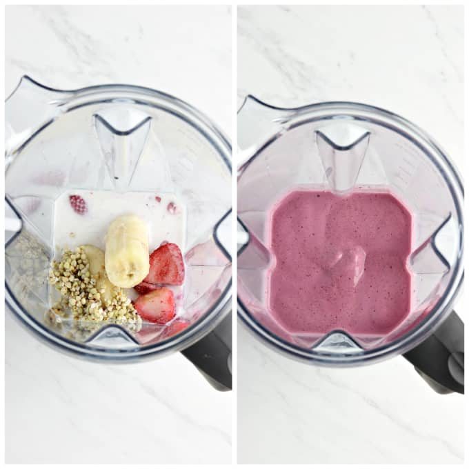 Two process photos of fruit in a blender and blended smoothie.