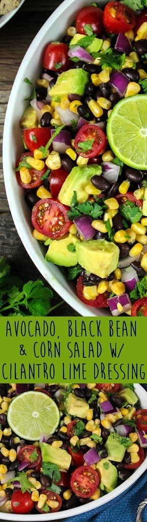 Long photo for pinning of Avocado, Black Bean & Corn Salad.