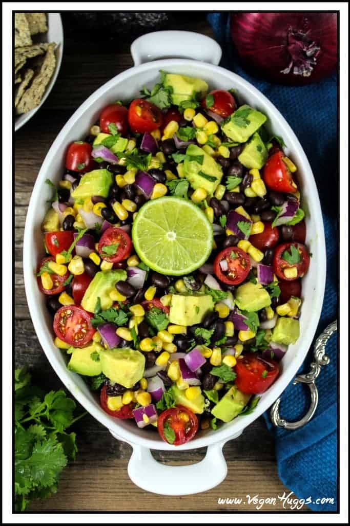 Avocado, Black Bean & Corn Salad ~ a bright, colorful and flavorful fiesta on a plate!