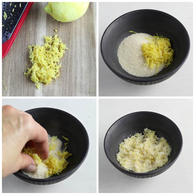 four process photos of making lemon sugar in a small bowl.