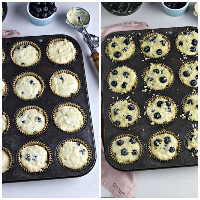 two process photos of filling muffin pan with batter and topping with blueberries and lemon sugar.