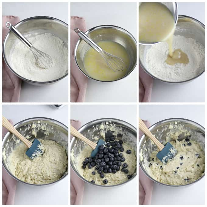 six process photos of making batter for lemon blueberry muffins.