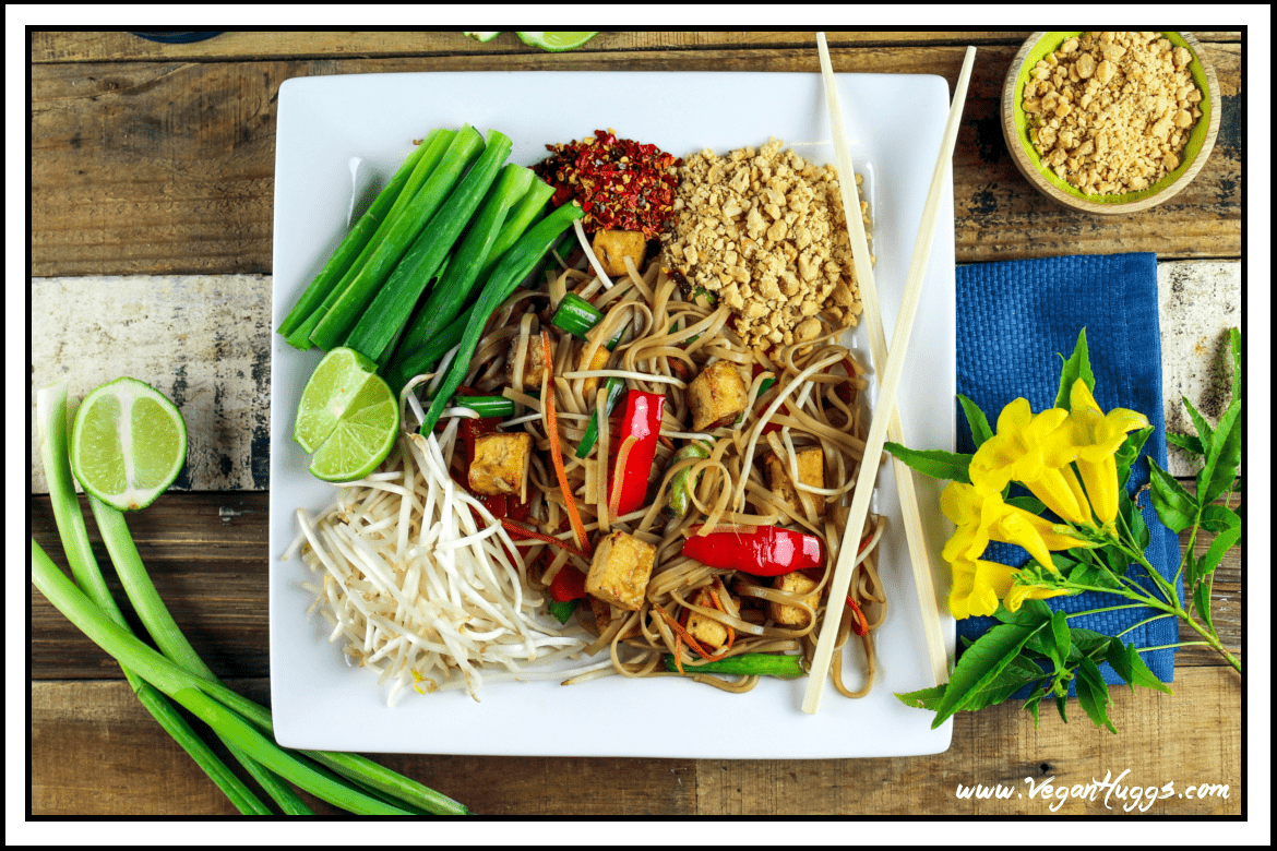 This Vegan Pad Thai has a combination of sweet, tangy & spicy flavors that will send your taste buds into overdrive. It's so easy to make & much healthier than the takeout version.