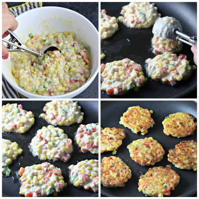 four process photos of frying batter in a pan.
