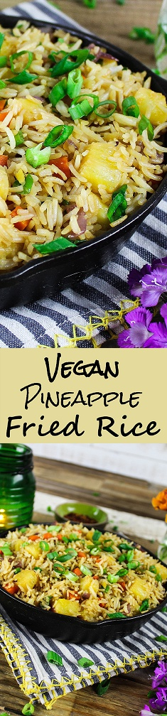 Long photo for pinning of Vegan Pineapple Fried Rice.