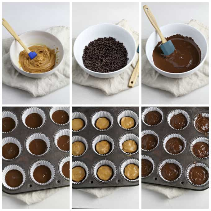Six process photos of mixing filling, melting chocolate and filling liners.