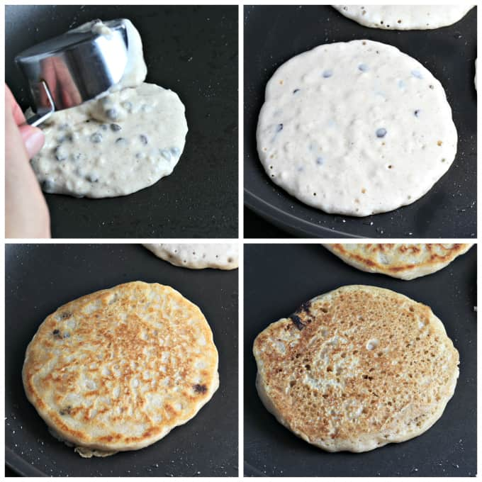 four process photos of cooking pancakes in a pan.