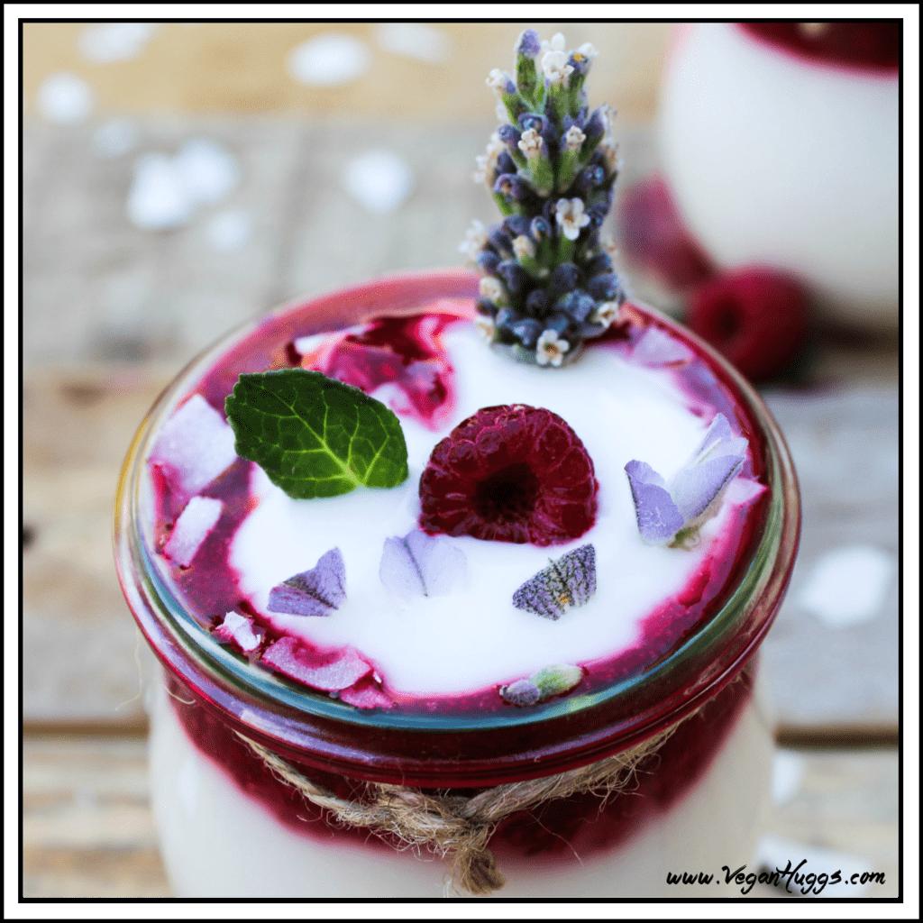 Overhead view of coconut yogurt in a jar.