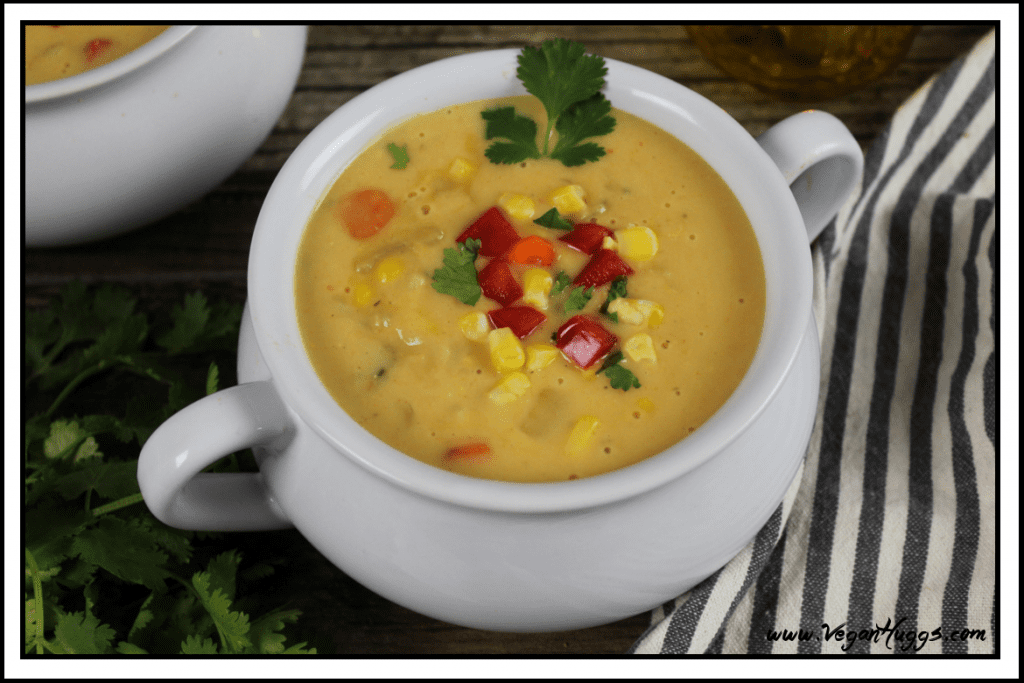 This Creamy Vegan Corn Chowder is hearty, healthy, sweet and satisfying. Perfect for any season. It's gluten-free, dairy-free and delicious!