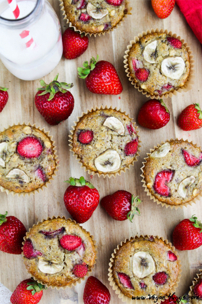 These Vegan Strawberry & Banana Breakfast Muffins are hearty, satisfying and scrumptious. They are gluten-free and guilt-free.
