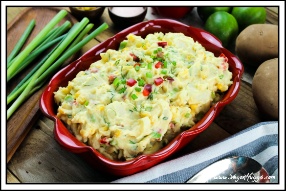 This Creamy Vegan Potato Salad is flavorful & satisfying. It's gluten-free, dairy-free and guilt free. It's the perfect side dish to most meals.