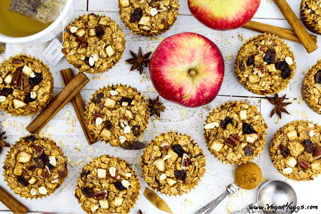 These Apple Cinnamon Baked Oatmeal Muffins are vegan, gluten-free & oil-free. They are perfect for those on-the-go mornings or for a healthy mid-day snack.