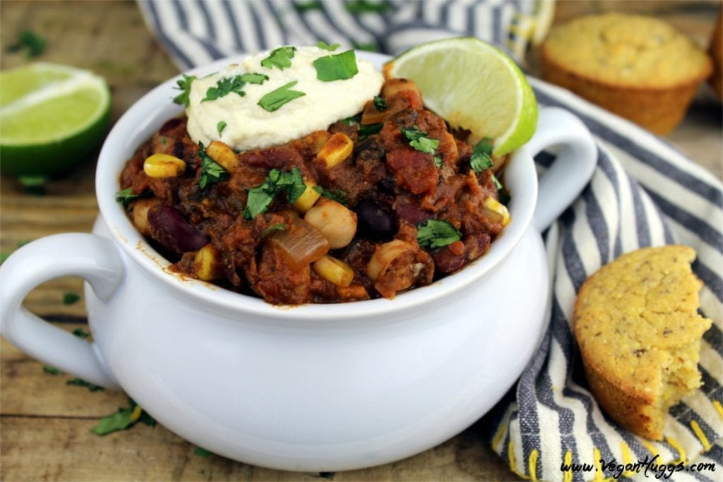 The fall weather is right around the corner, and this Three Bean Mushroom Chili is the perfect way to welcome it. It's hearty, healthy and so easy to make.