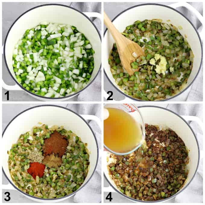 4 process photos of sautéing onions, peppers, garlic and spices in a pot.