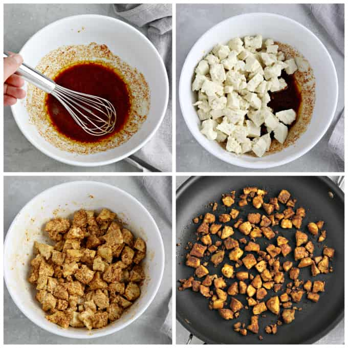 4 process photos of making veggie meat crumbles.