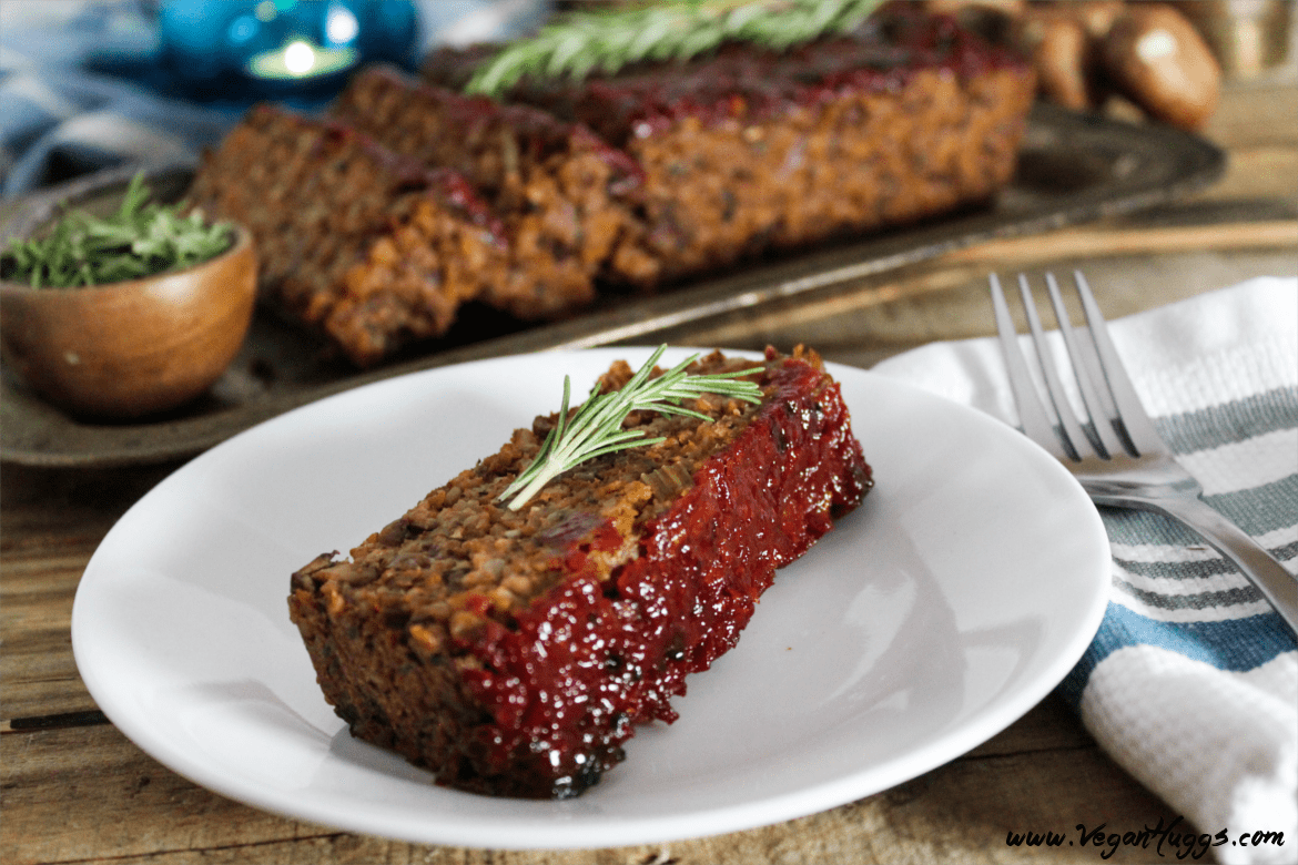 This Mushroom-Walnut Meatless Loaf w/ Ketchup Glaze is hearty, healthy & full of flavor. It will keep the vegans & non-vegans at the table together.