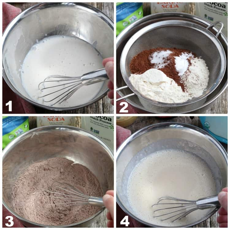 4 process photos of mixing cupcake batter in a bowl.