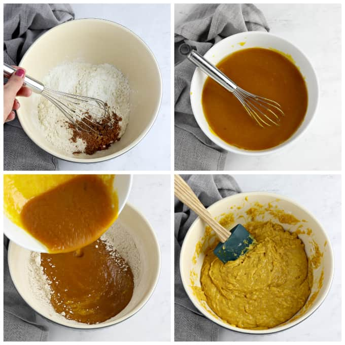 4 process photos of making batter for vegan pumpkin muffins.