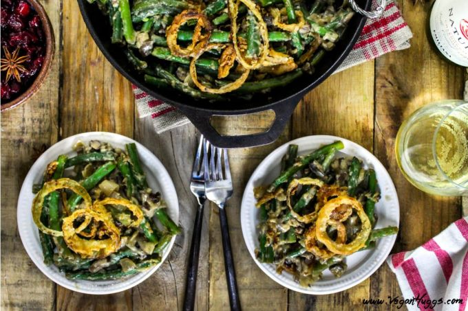"""This Vegan Green Bean Casserole is creamy, crunchy & savory! It's so close to the traditional version, that you'll have to keep saying, """"yep, it's vegan!"""" to your holiday guests."""