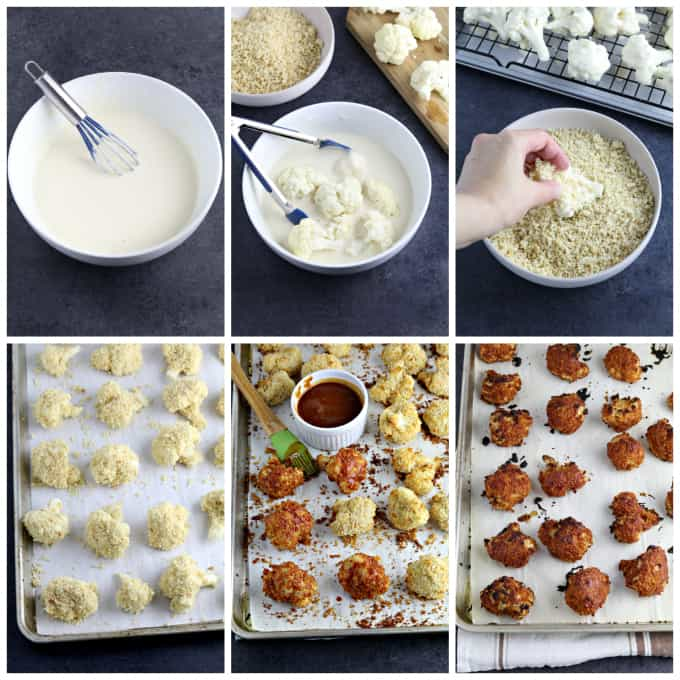 Six process photos of making batter and dipping the cauliflower into batter and panko, then baking.