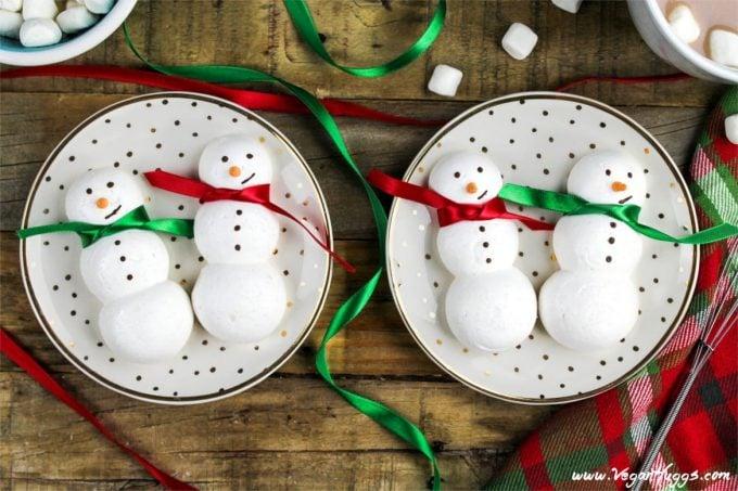 Vegan Snowmen Meringue Cookies