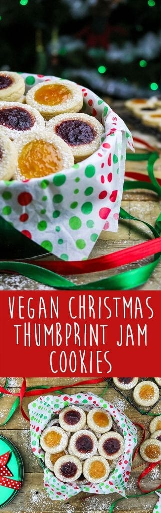 Vegan Thumbprint Cookies ~ the combination of delicious jam, melt-in-your-mouth shortbread, and sweet powdered sugar will help you bring on the festive spirit!