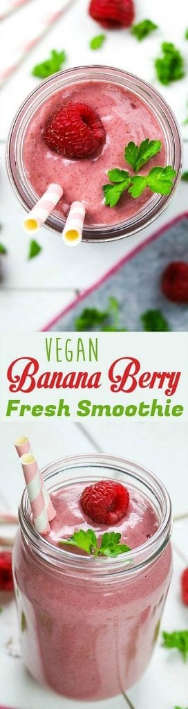 This Banana Berry Smoothie is refreshing, nutrient-packed & takes minutes to make. You can find this healthy berrylicious treat & more in 40 Days of Green Smoothies by Becky Striepe.