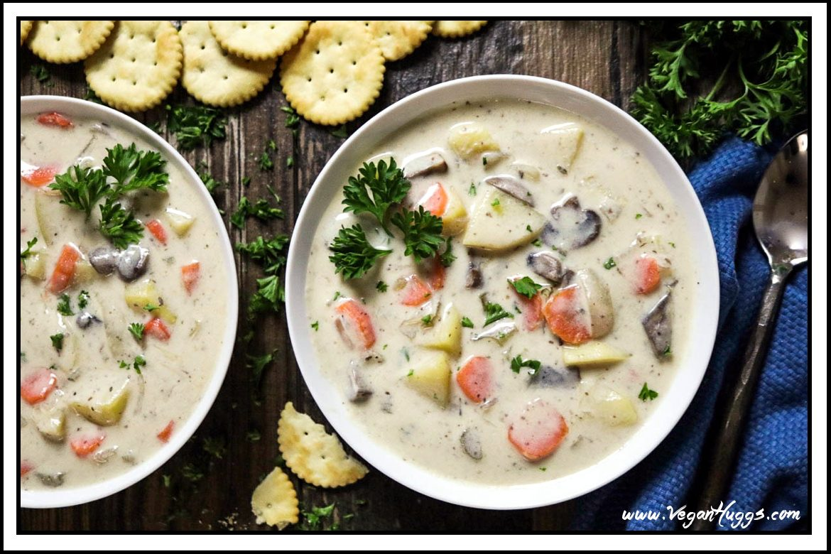 Warm up on a chilly night with this rich, creamy & hearty New England Vegan Clam Chowder. It takes 30 minutes to make & it's easy to prepare, too.