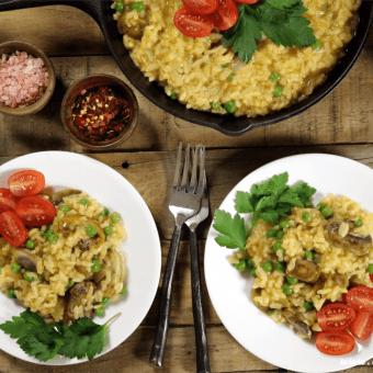 Creamy Vegan Mushroom Risotto w/ Peas (Gluten-Free)