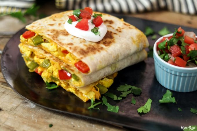 Satisfy your morning hunger with this loaded Vegan Breakfast Quesadilla.