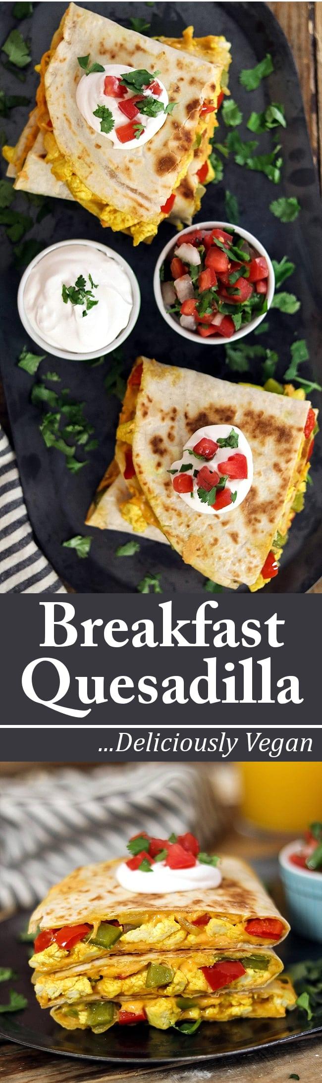 Satisfy your morning hunger with this loaded Vegan Breakfast Quesadilla. #veganbreakfast