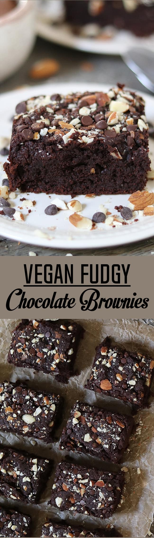 These Vegan Fudgy Chocolate Brownies are super chocolatey, nutty, and delicious. Made without oil or gluten.