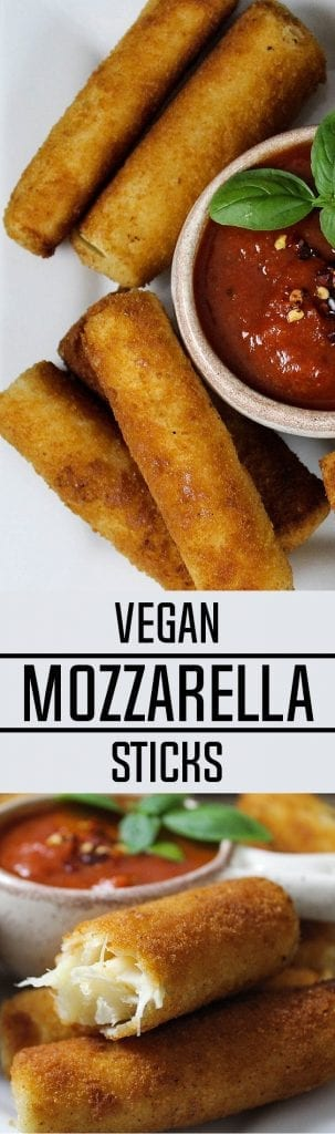 Vegan Mozzarella Sticks are crispy, tangy and delightful.