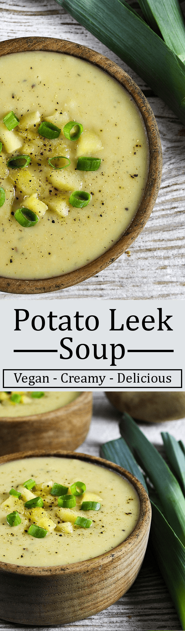 This Vegan Potato Leek Soup is creamy, comforting and filling. It's dairy-free, gluten-free and nutritious. Perfect for those chilly days, too.