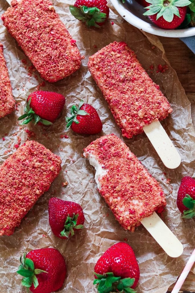 Have a taste of nostalgia with these Strawberry Shortcake Ice Cream Bars. They're creamy, crumbly, tart and deliciously sweet! Vegan + Gluten-free.