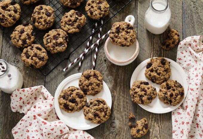 These vegan Oatmeal Raisin Chocolate Chip Cookies are tender, chewy, chocolatey, and deliciously sweet.