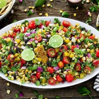 Summer Grilled Corn Salad w/ Cilantro Lime Dressing