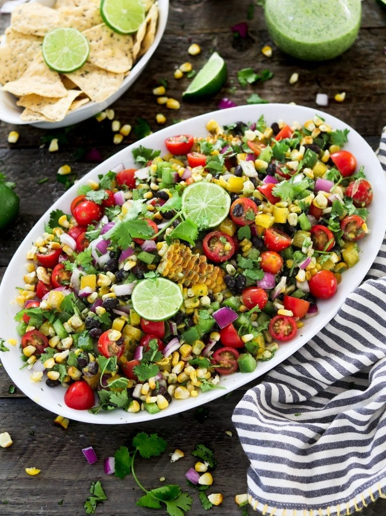 Easy Vegan Dinner Recipes - grilled corn salad