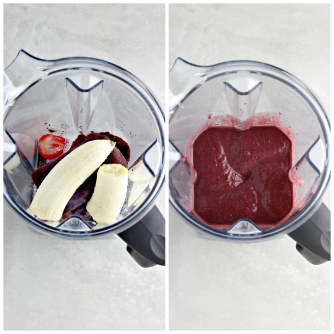 Two process photos of blending ingredients for an acai bowl recipe.