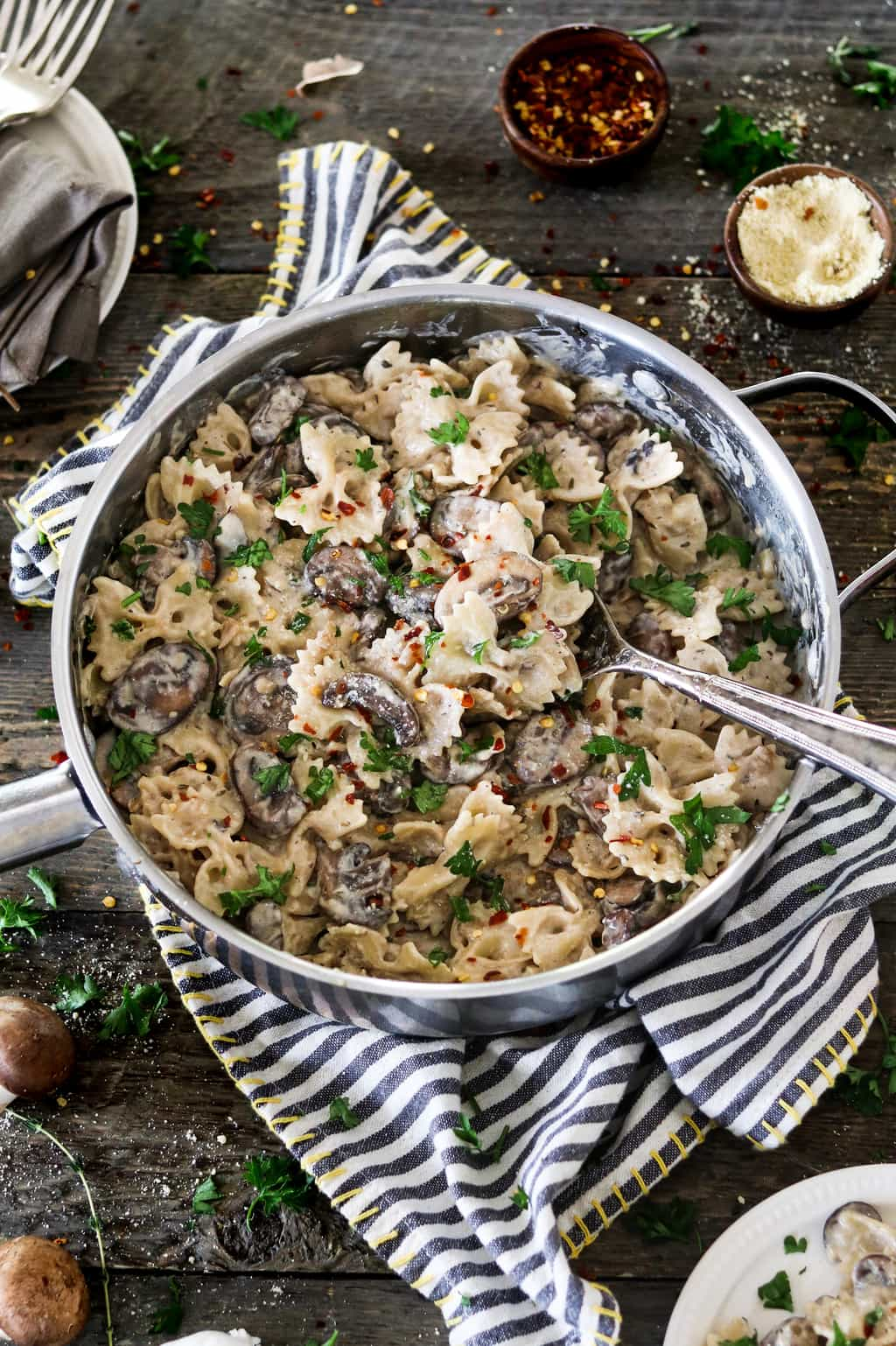 This Vegan Mushroom Stroganoff is savory, comforting and oh-so creamy! It's nut-free, soy-free and much healthier than its non-vegan counterpart.