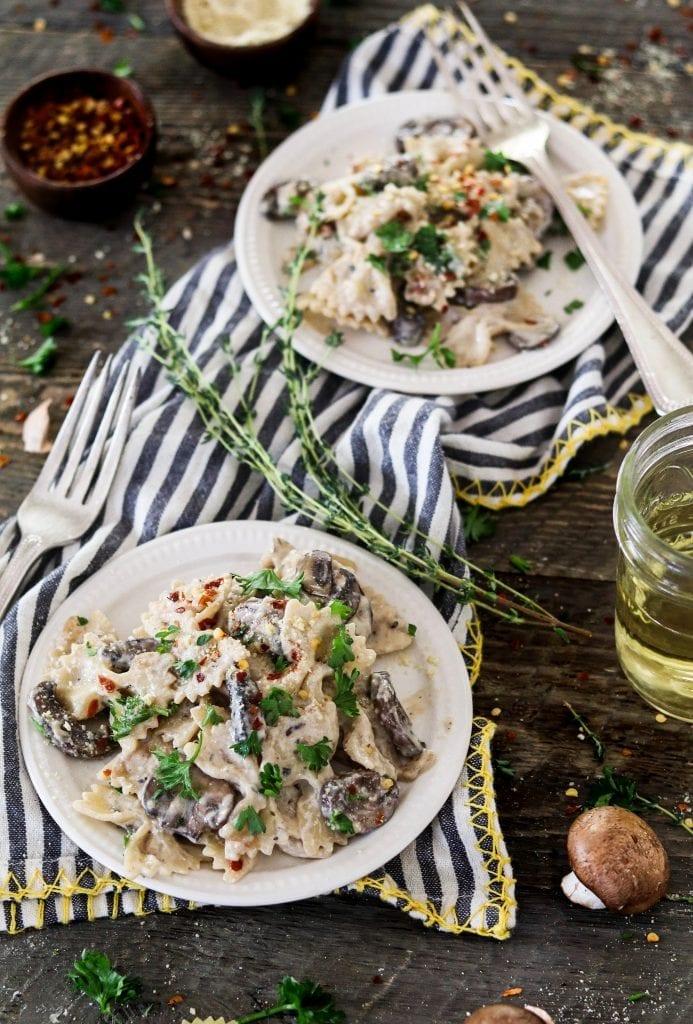 Two plate of vegan mushroom stroganoff