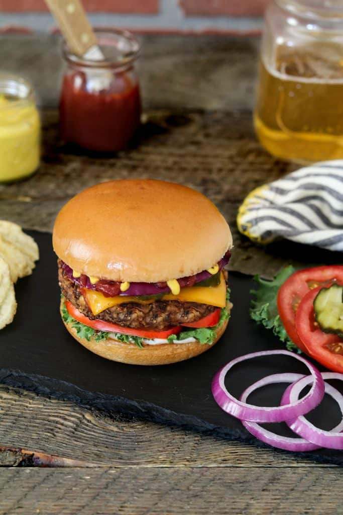 This Ultimate Bean & Mushroom Burger passes the test! It won't fall apart and it's hearty, satisfying, smoky & bursting with rich umami flavor!