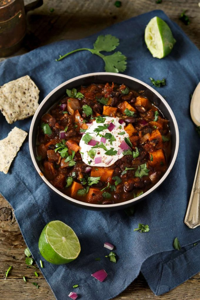 This Sweet Potato Black Bean Chili has the perfect balance of smoky heat and subtly sweet flavor.