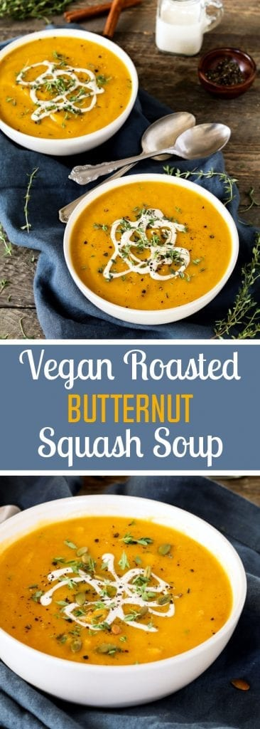 This Vegan Roasted Butternut Squash Soup is the perfect way to welcome fall! It's warm-spiced, hearty and oh-so cozy!