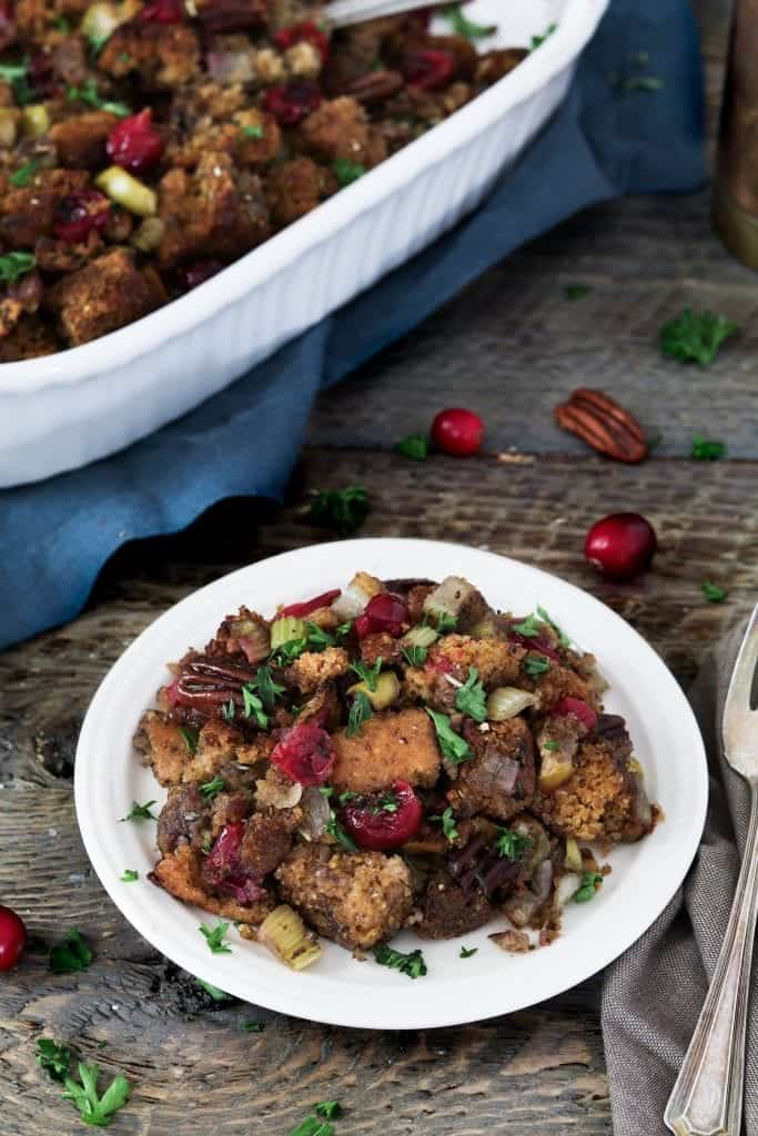 This Vegan Cornbread Stuffing will be the star at your holiday table. It's gorgeous to look at and chock-full of autumn flavors.