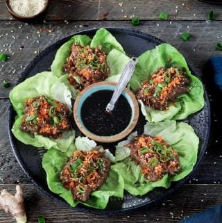 These Vegan Lettuce Wraps are light, healthy, and packed with rich umami flavor. You can put them together with ease in 25 minutes or less.