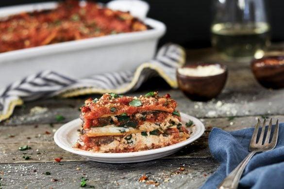 "The epitome of comfort food, this Vegan SpinachMushroom Lasagna has 4 dreamy layers of savory marinara, creamy ""ricotta"", ribbonednoodles & sautéed veggies."