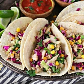 Vegan Fish Tacos with Cilantro-Lime Corn Slaw