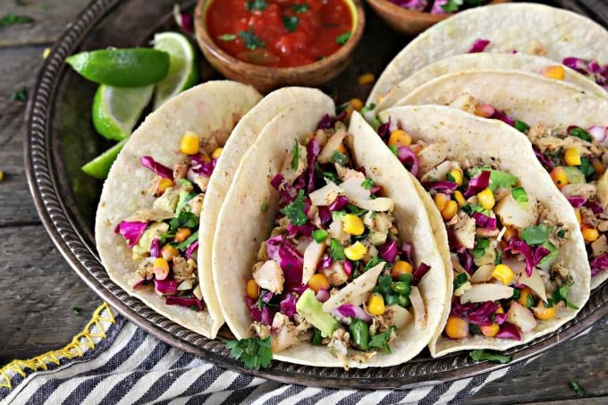 Vegan fish tacos with cilantro lime corn slaw vegan huggs for Side dishes for fish tacos